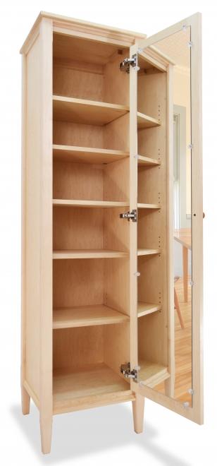 Bookcase with Mirrored Door Shaker Maple open