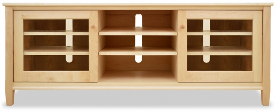 TV Console 2 Shaker Maple with Glass Doors