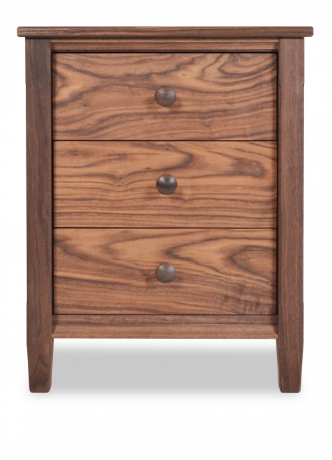 Nightstand 3 Drawer Shaker Walnut