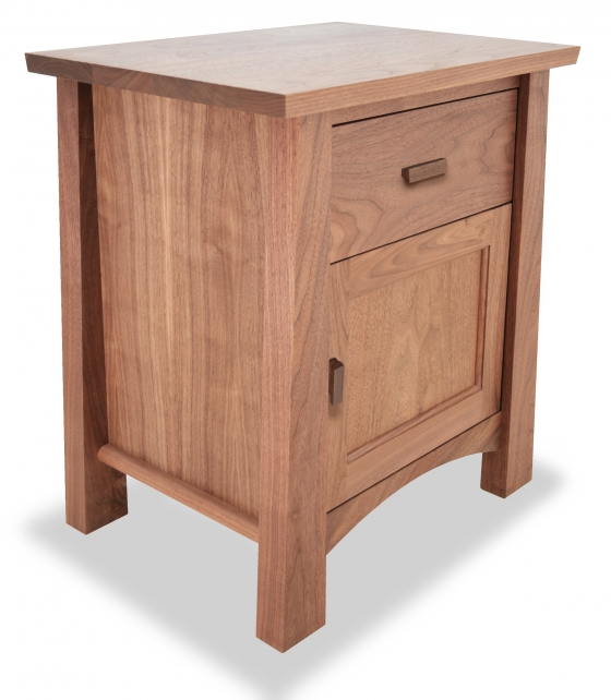 Nightstand Gamble Walnut with door angle