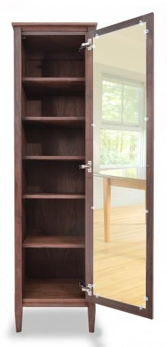 Bookcase with Mirror Shaker Walnut open