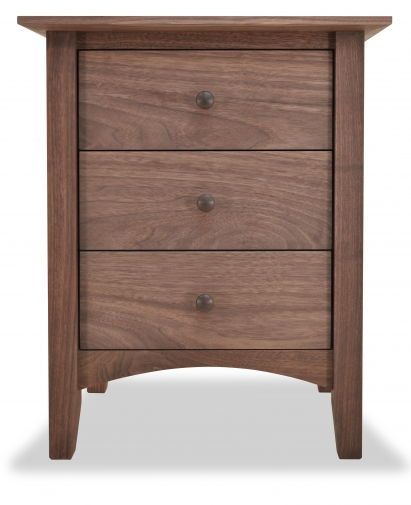 Nightstand 3 Drawer Canterbury Walnut
